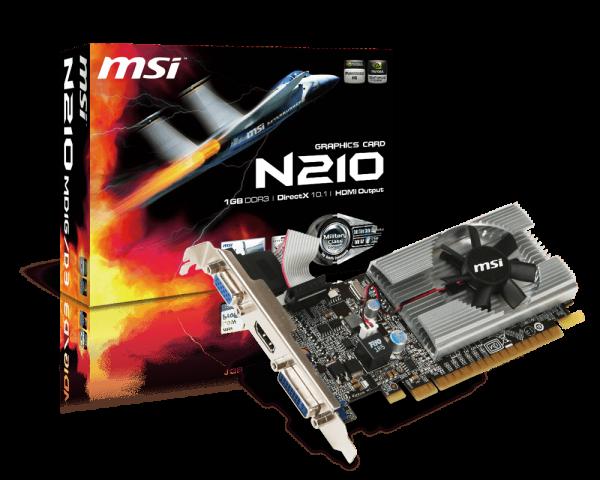 TARJETA DE VIDEO N210-MD1G/D3 GeForce 210 1GB DDR3 PCI Express DVI/VGA/HDMI