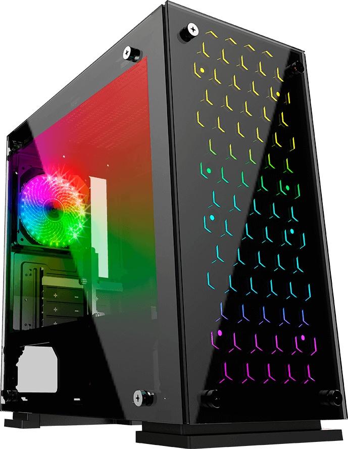 GABINETE GAMER CON PANEL LED CABLEADO OPTIMIZADO CON VENTANA Y 3 VENTILADOR 120M CON LUZ RGB