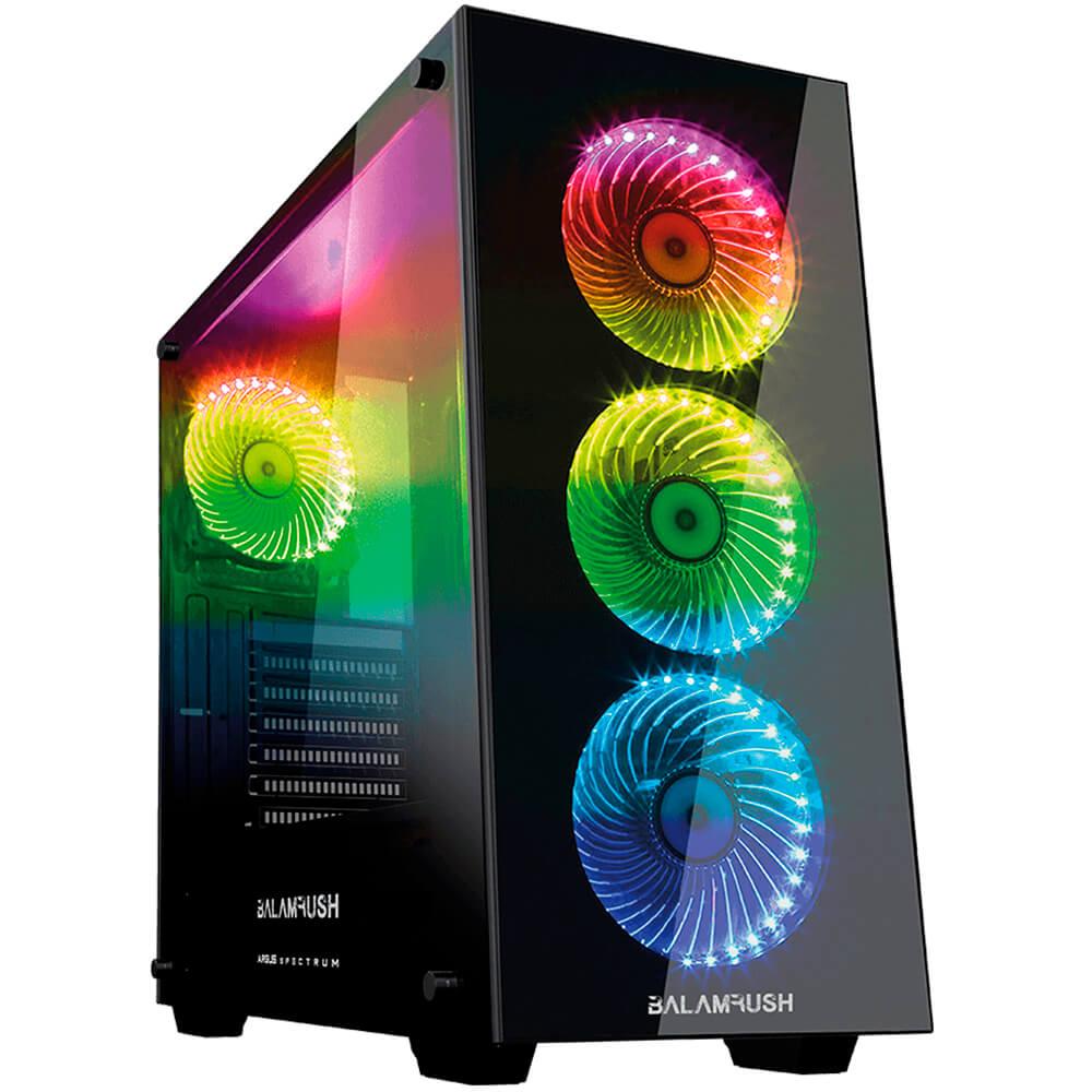 GABINETE SPECTRUM ARGUS VENTANA DE CRISTAL. ATX.BAIAS 2HDD/3SSD.4 VENTILADORES RGB