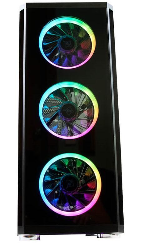 GABINETE GAMER SHADOW 2200 CABLEADO OPTIMIZADO CON VENTANA Y 3 VENTILADORES 120M CON LUZ RGB, INCLUYEN CONTROL REMOTO