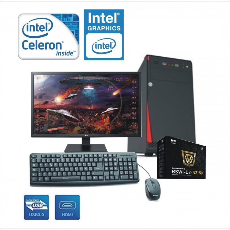 PC INTEL CELERON J3060 MONITOR LED 18.5""